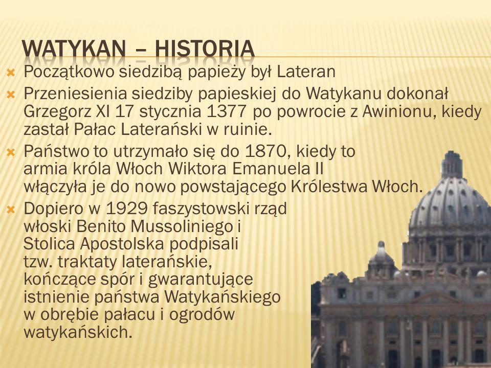 Początkowo siedzibą papieży był Lateran Przeniesienia siedziby papieskiej do Watykanu dokonał Grzegorz XI 17 stycznia 1377 po powrocie z Awinionu, kie