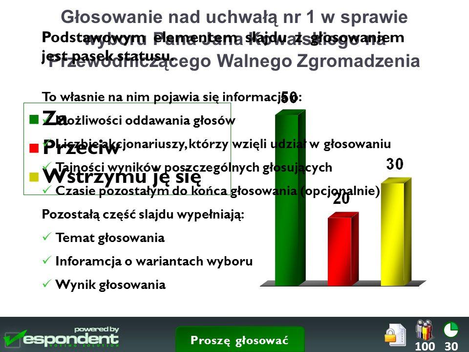 Głosowanie nad uchwałą nr 1 w sprawie wyboru Pana Jana Kowalskiego na Przewodniczącego Walnego Zgromadzenia Za Przeciw Wstrzymu ję się 30100 Podstawowym elementem slajdu z głosowaniem jest pasek statusu.
