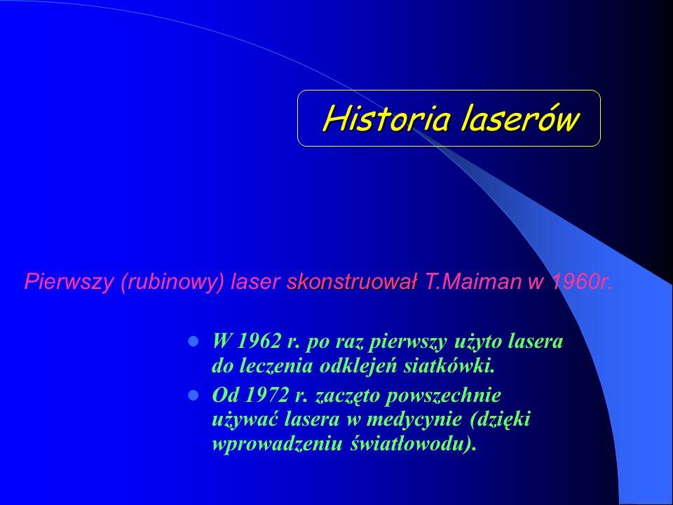 Historia laserów W 1962 r.po raz pierwszy użyto lasera do leczenia odklejeń siatkówki.