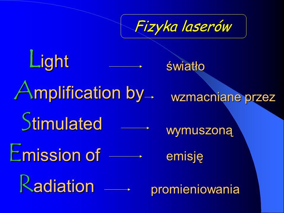 L ight A mplification A mplification by S timulated E mission E mission of R adiation promieniowania Fizyka laserów światło wzmacniane przez wymuszoną emisję