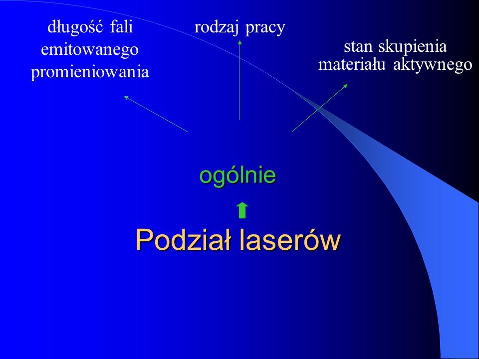 Podział laserów rodzaj pracy ogólnie długość fali emitowanego promieniowania stan skupienia materiału aktywnego
