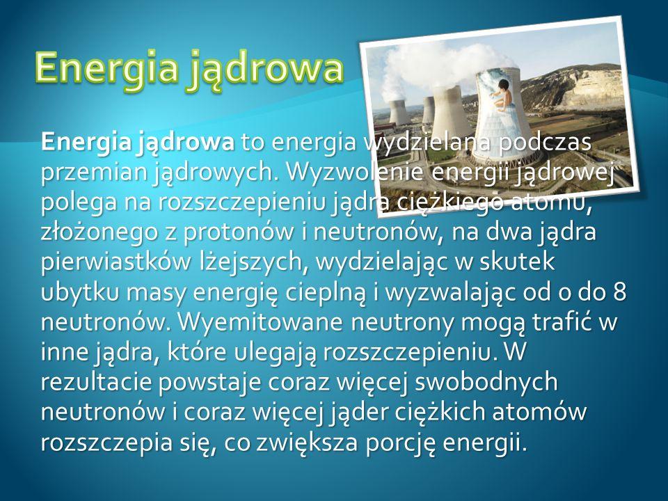 Energia jądrowa to energia wydzielana podczas przemian jądrowych. Wyzwolenie energii jądrowej polega na rozszczepieniu jądra ciężkiego atomu, złożoneg