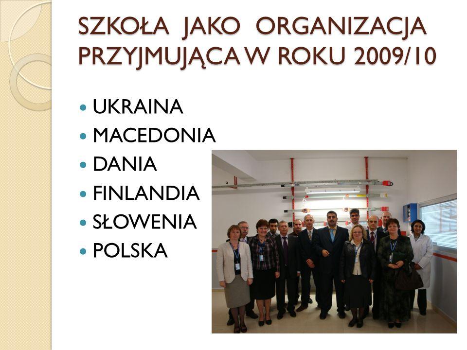SZKOŁA JAKO ORGANIZACJA PRZYJMUJĄCA W ROKU 2009/10 UKRAINA MACEDONIA DANIA FINLANDIA SŁOWENIA POLSKA