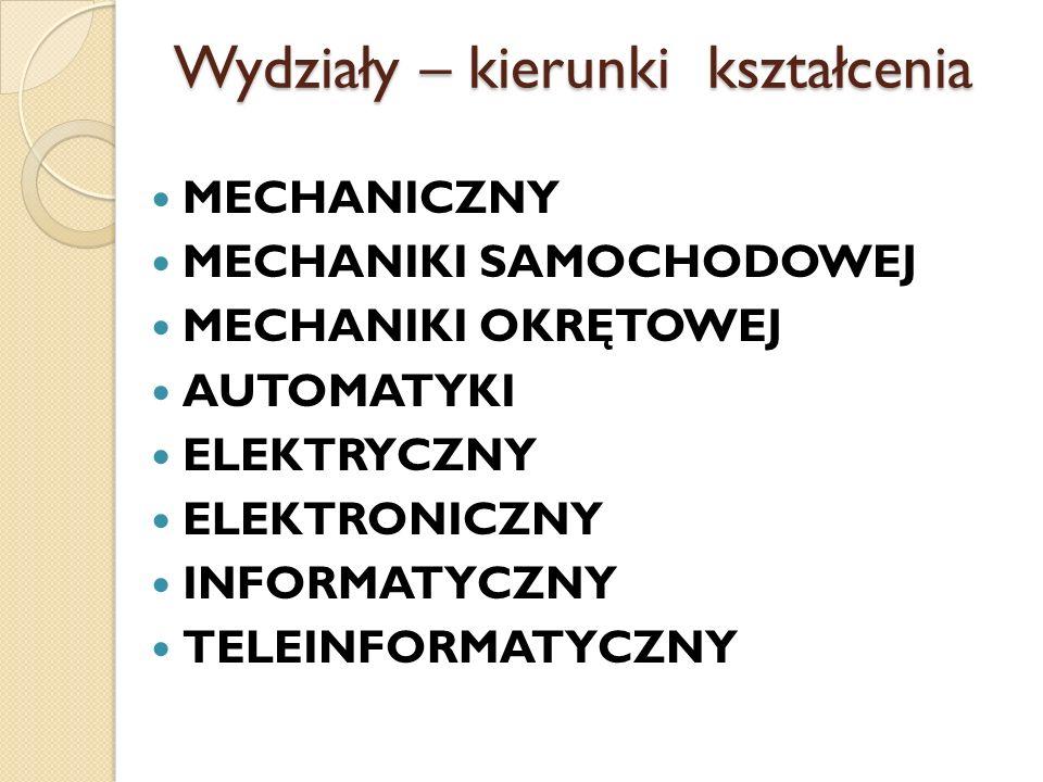 Wydziały – kierunki kształcenia MECHANICZNY MECHANIKI SAMOCHODOWEJ MECHANIKI OKRĘTOWEJ AUTOMATYKI ELEKTRYCZNY ELEKTRONICZNY INFORMATYCZNY TELEINFORMAT