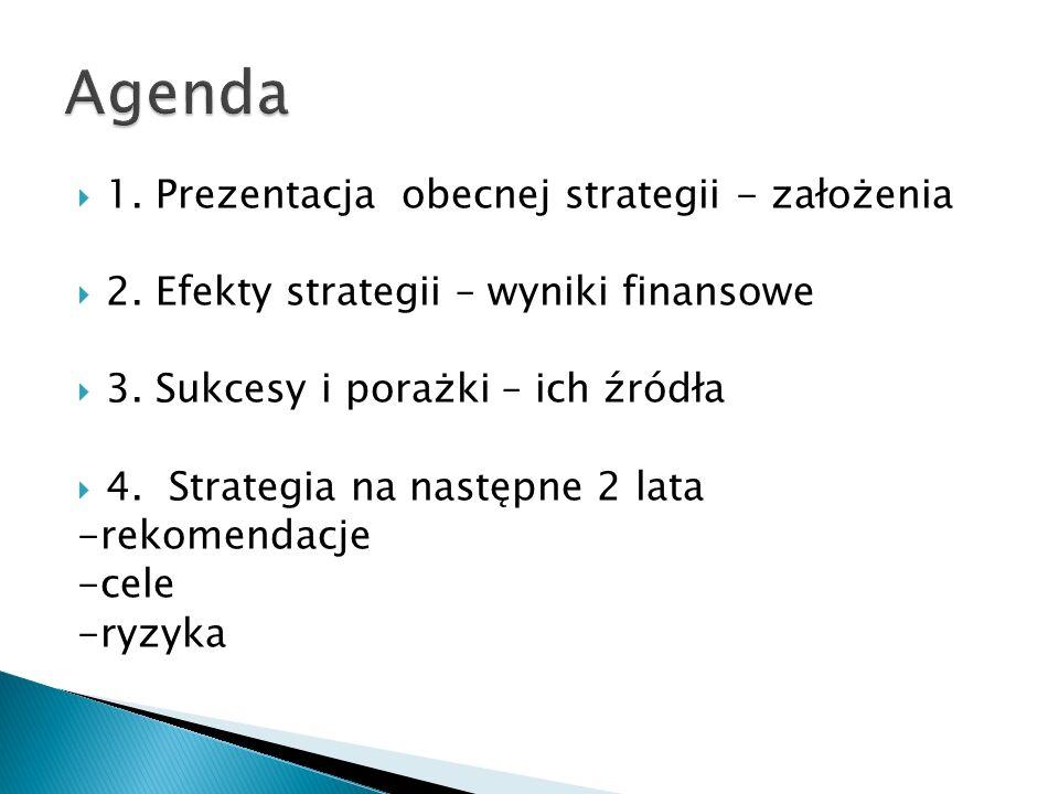 1. Prezentacja obecnej strategii - założenia 2. Efekty strategii – wyniki finansowe 3. Sukcesy i porażki – ich źródła 4. Strategia na następne 2 lata