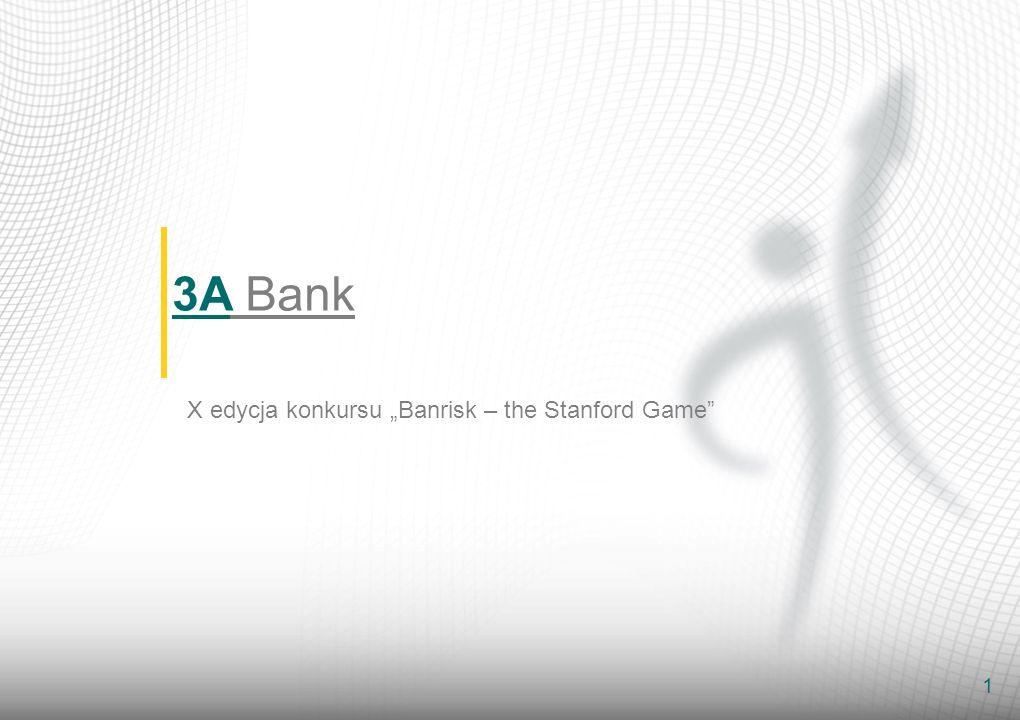 2 S TRATEGIA ROZWOJU B ANKU - Zrównoważony rozwój i w efekcie Stworzenie Banku uniwersalnego - Wzrost portfela kredytowego poprzez konkurencyjne ceny i agresywną politykę kredytową - Rozbudowa bazy depozytów na żądanie oraz depozytów rynku pieniężnego - Rozwój sieci oddziałów 3A Bank