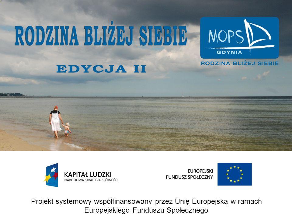 Projekt systemowy współfinansowany przez Unię Europejską w ramach Europejskiego Funduszu Społecznego