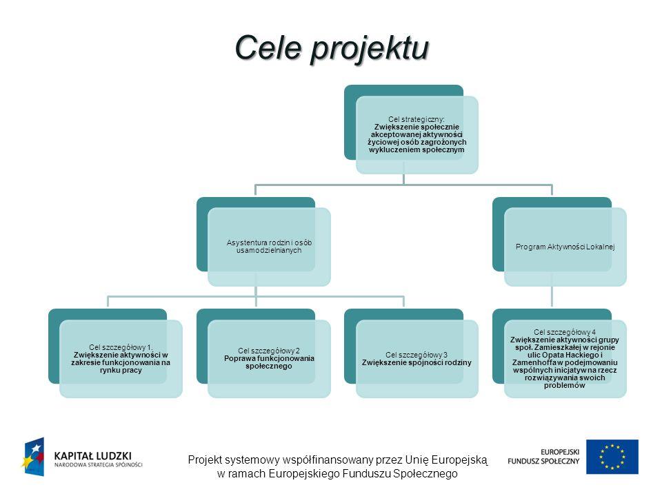 Cele projektu Projekt systemowy współfinansowany przez Unię Europejską w ramach Europejskiego Funduszu Społecznego Cel strategiczny: Zwiększenie społecznie akceptowanej aktywności życiowej osób zagrożonych wykluczeniem społecznym Asystentura rodzin i osób usamodzielnianych Cel szczegółowy 1.