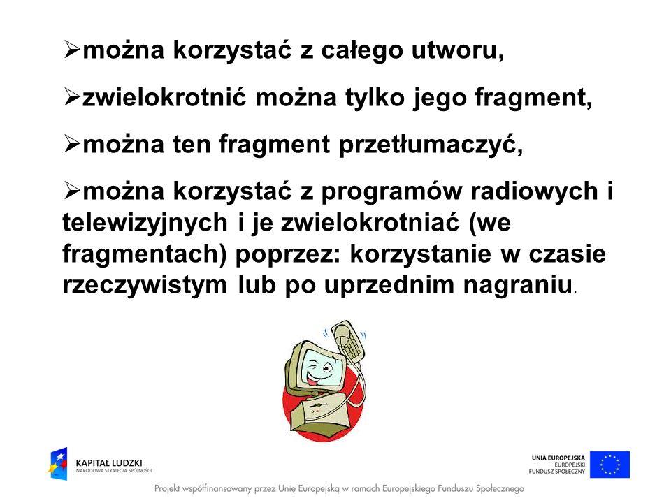 można korzystać z całego utworu, zwielokrotnić można tylko jego fragment, można ten fragment przetłumaczyć, można korzystać z programów radiowych i te