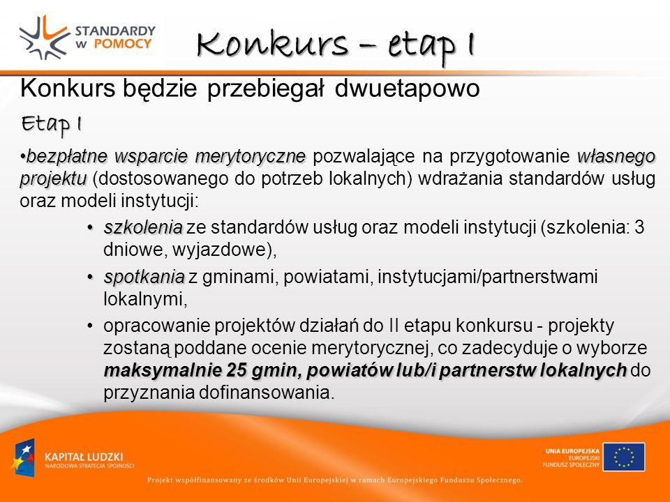 Konkurs – etap I Konkurs będzie przebiegał dwuetapowo Etap I bezpłatne wsparcie merytoryczne własnego projektubezpłatne wsparcie merytoryczne pozwalające na przygotowanie własnego projektu (dostosowanego do potrzeb lokalnych) wdrażania standardów usług oraz modeli instytucji: szkoleniaszkolenia ze standardów usług oraz modeli instytucji (szkolenia: 3 dniowe, wyjazdowe), spotkaniaspotkania z gminami, powiatami, instytucjami/partnerstwami lokalnymi, maksymalnie 25 gmin, powiatów lub/i partnerstw lokalnychopracowanie projektów działań do II etapu konkursu - projekty zostaną poddane ocenie merytorycznej, co zadecyduje o wyborze maksymalnie 25 gmin, powiatów lub/i partnerstw lokalnych do przyznania dofinansowania.