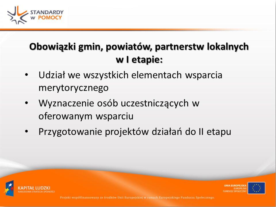 Obowiązki gmin, powiatów, partnerstw lokalnych w I etapie: Udział we wszystkich elementach wsparcia merytorycznego Wyznaczenie osób uczestniczących w oferowanym wsparciu Przygotowanie projektów działań do II etapu