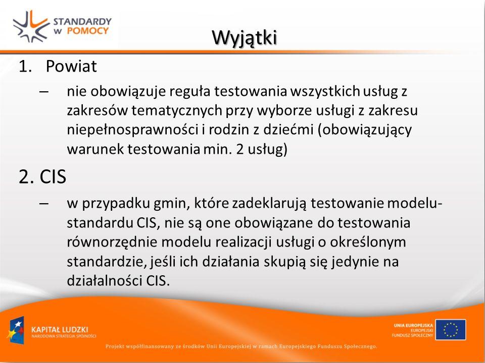 Wyjątki 1.Powiat – nie obowiązuje reguła testowania wszystkich usług z zakresów tematycznych przy wyborze usługi z zakresu niepełnosprawności i rodzin z dziećmi (obowiązujący warunek testowania min.