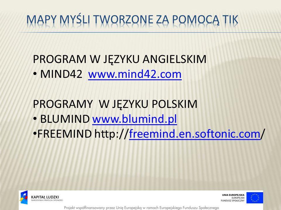 PROGRAM W JĘZYKU ANGIELSKIM MIND42 www.mind42.comwww.mind42.com PROGRAMY W JĘZYKU POLSKIM BLUMIND www.blumind.plwww.blumind.pl FREEMIND http://freemin