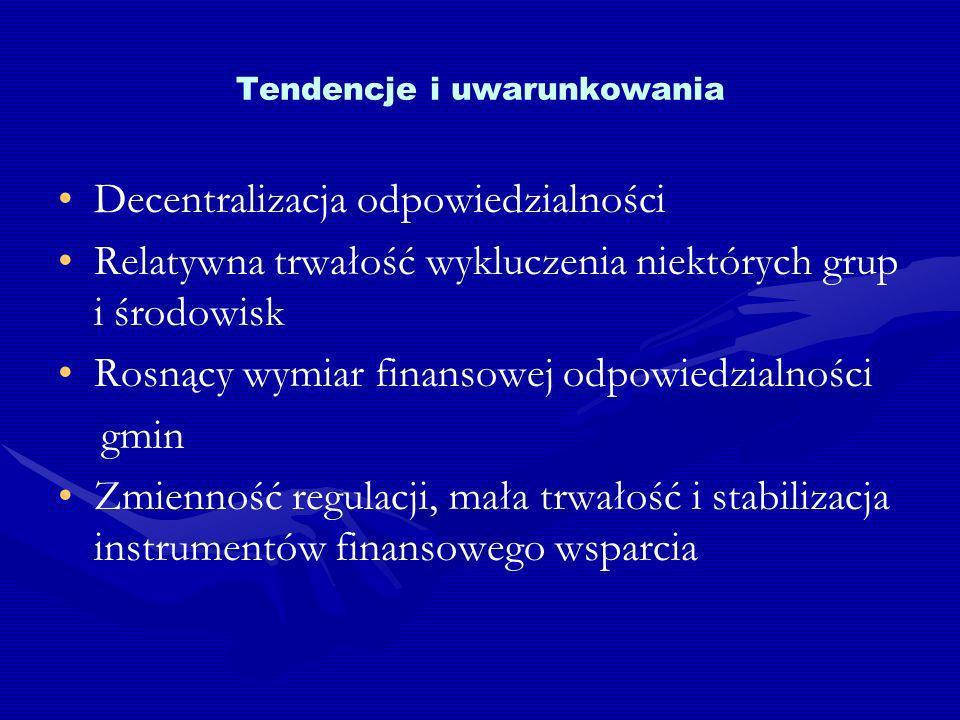 Tendencje i uwarunkowania Decentralizacja odpowiedzialności Relatywna trwałość wykluczenia niektórych grup i środowisk Rosnący wymiar finansowej odpowiedzialności gmin Zmienność regulacji, mała trwałość i stabilizacja instrumentów finansowego wsparcia