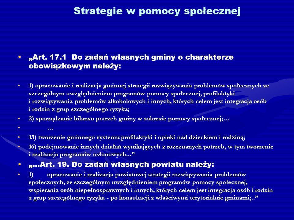 Strategie w pomocy społecznej Art.
