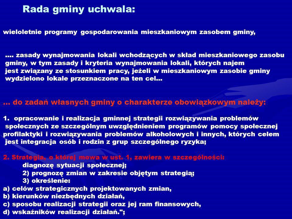 Rada gminy uchwala: wieloletnie programy gospodarowania mieszkaniowym zasobem gminy, ….