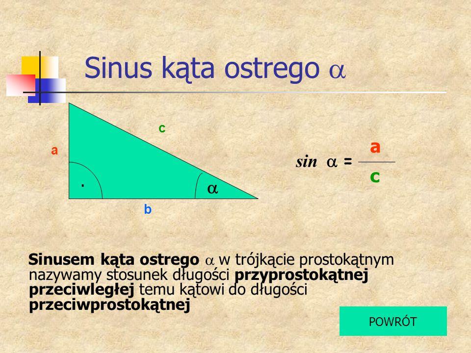 Sinus kąta ostrego Sinusem kąta ostrego w trójkącie prostokątnym nazywamy stosunek długości przyprostokątnej przeciwległej temu kątowi do długości prz