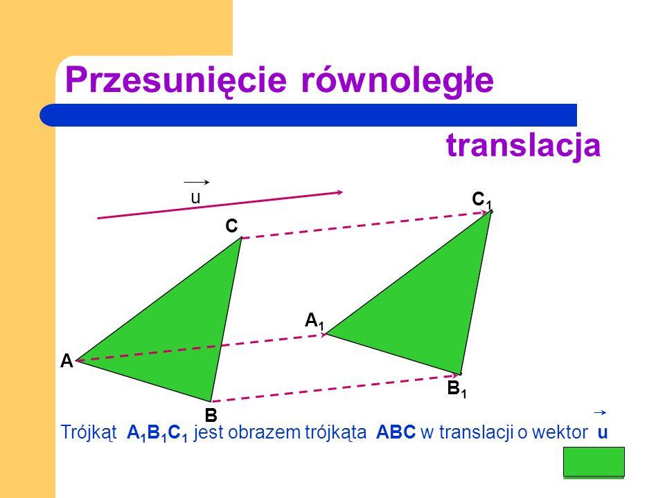 Przesunięcie równoległe A C u translacja C1C1 A 1 B1B1 B Trójkąt A 1 B 1 C 1 jest obrazem trójkąta ABC w translacji o wektor u