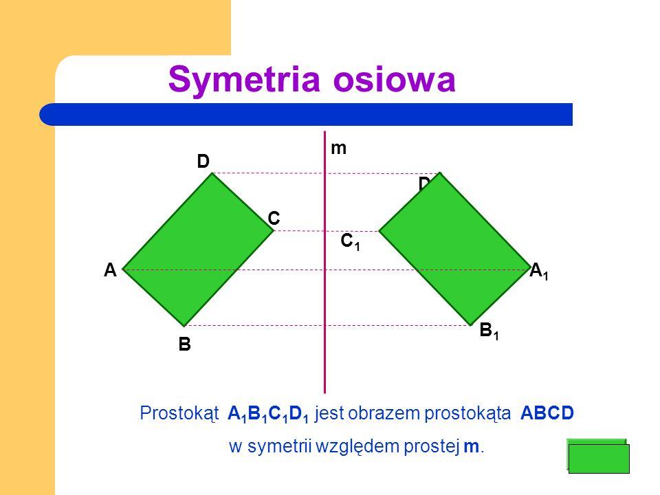 Symetria osiowa A B C D A 1 B 1 C1 C1 D1 D1 Prostokąt A 1 B 1 C 1 D 1 jest obrazem prostokąta ABCD w symetrii względem prostej m.