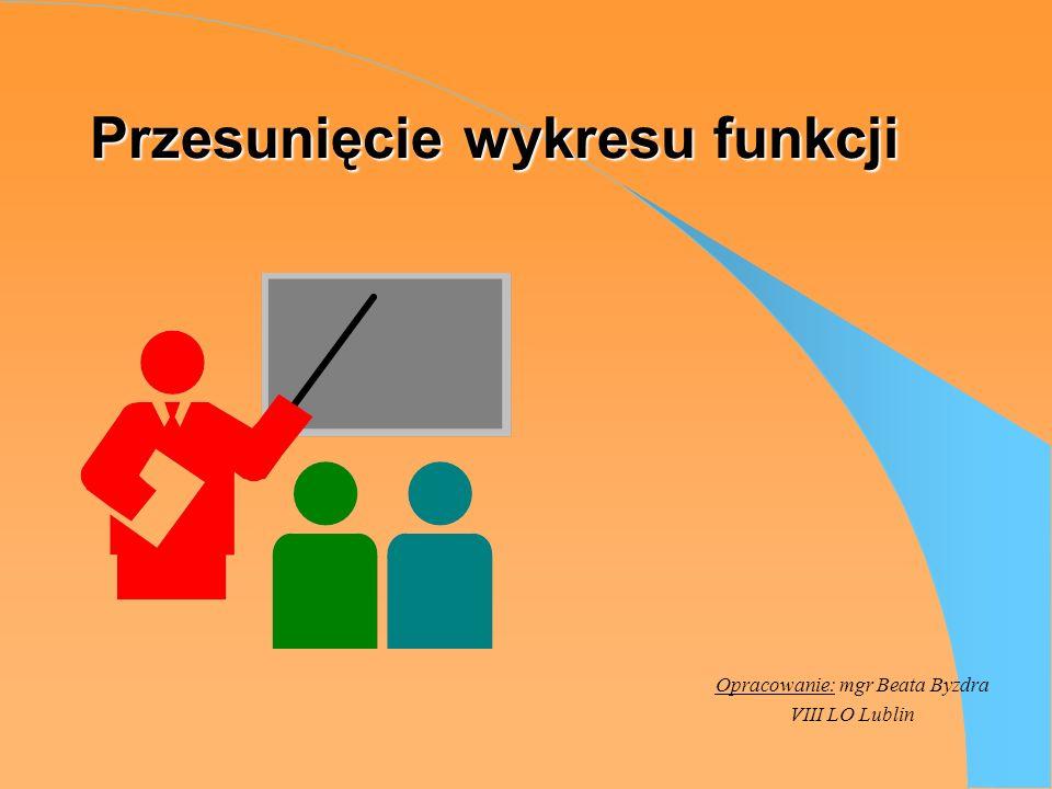 Przesunięcie wykresu funkcji Opracowanie: mgr Beata Byzdra VIII LO Lublin