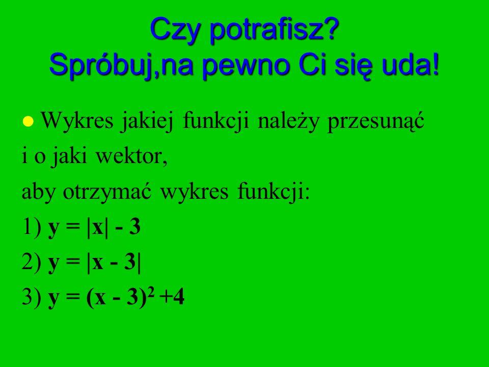Czy potrafisz? Spróbuj,na pewno Ci się uda! l Wykres jakiej funkcji należy przesunąć i o jaki wektor, aby otrzymać wykres funkcji: 1) y = |x| - 3 2) y