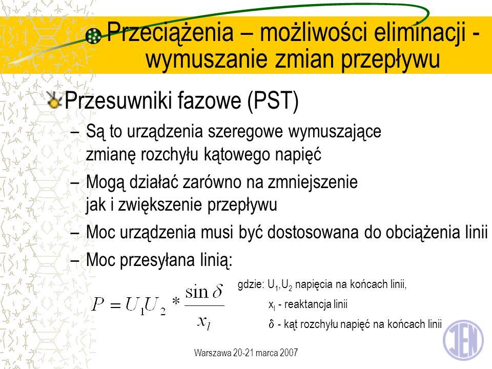 Warszawa 20-21 marca 2007 Przeciążenia – możliwości eliminacji - wymuszanie zmian przepływu Przesuwniki fazowe (PST) –Są to urządzenia szeregowe wymus