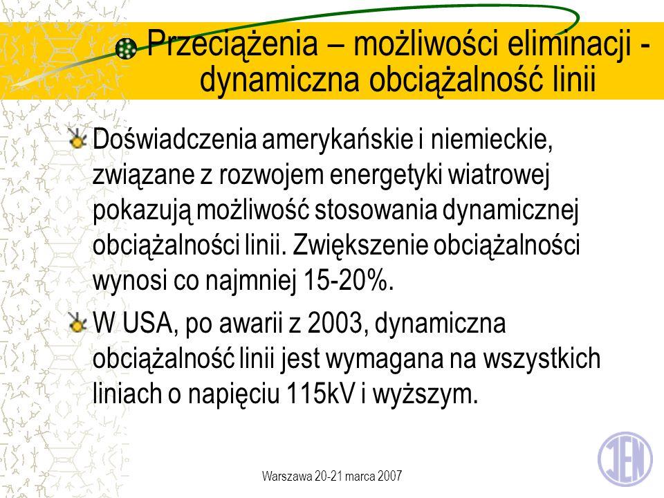 Warszawa 20-21 marca 2007 Przeciążenia – możliwości eliminacji - dynamiczna obciążalność linii Doświadczenia amerykańskie i niemieckie, związane z roz