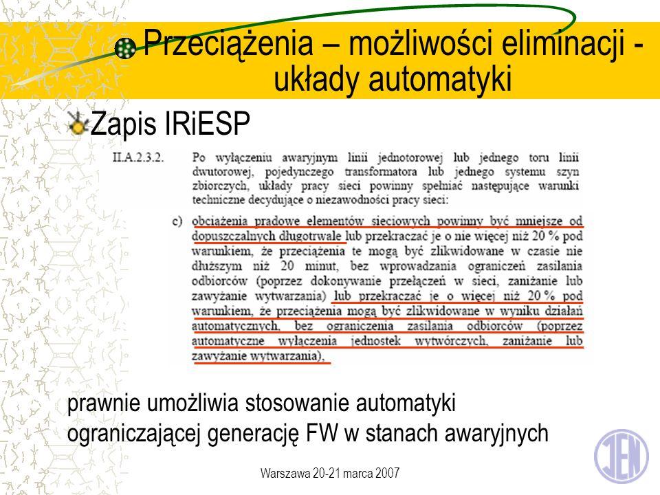 Warszawa 20-21 marca 2007 Przeciążenia – możliwości eliminacji - układy automatyki Zapis IRiESP prawnie umożliwia stosowanie automatyki ograniczającej