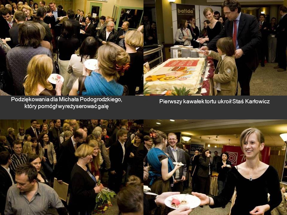Podziękowania dla Michała Podogrodzkiego, który pomógł wyreżyserować galę Pierwszy kawałek tortu ukroił Staś Karłowicz