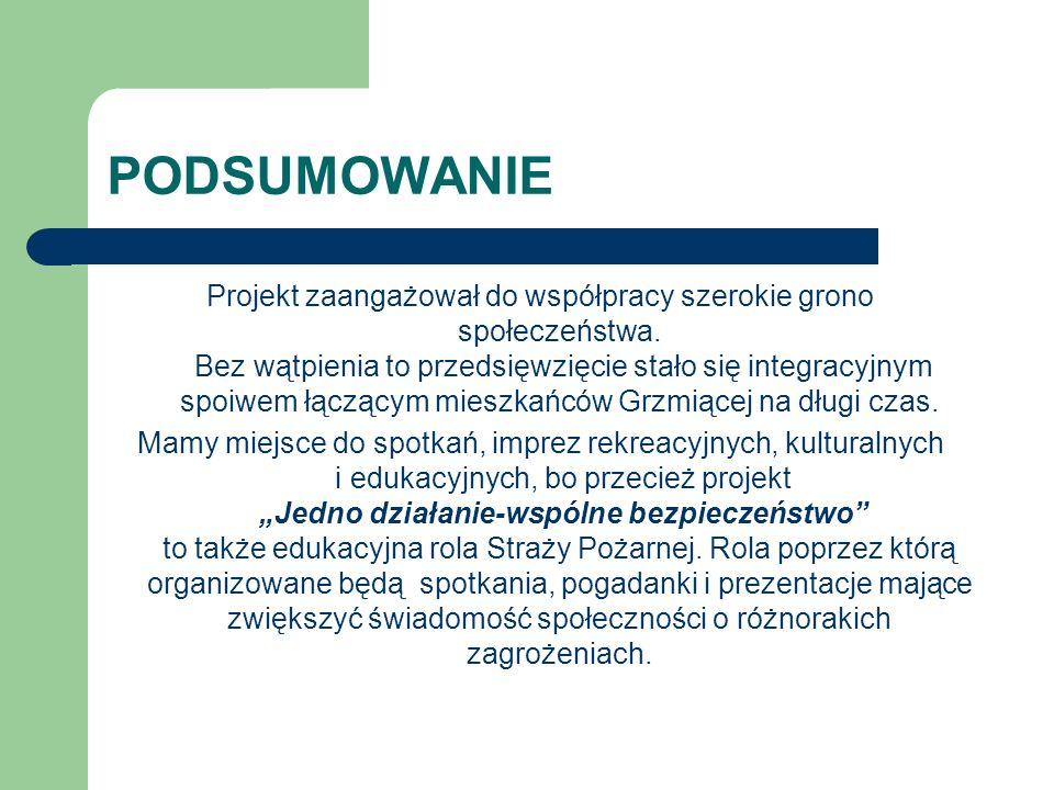 PODSUMOWANIE Projekt zaangażował do współpracy szerokie grono społeczeństwa.
