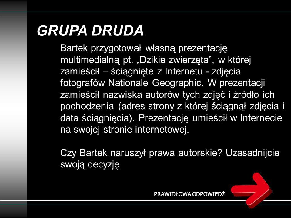 GRUPA DRUDA Bartek przygotował własną prezentację multimedialną pt. Dzikie zwierzęta, w której zamieścił – ściągnięte z Internetu - zdjęcia fotografów