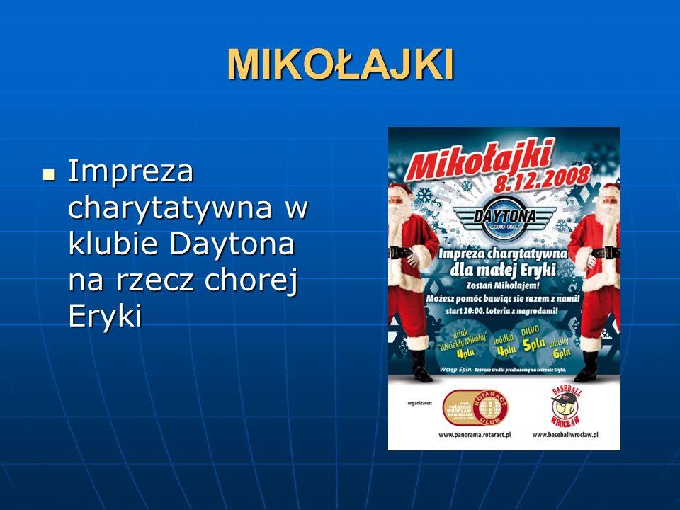 MIKOŁAJKI Impreza charytatywna w klubie Daytona na rzecz chorej Eryki Impreza charytatywna w klubie Daytona na rzecz chorej Eryki