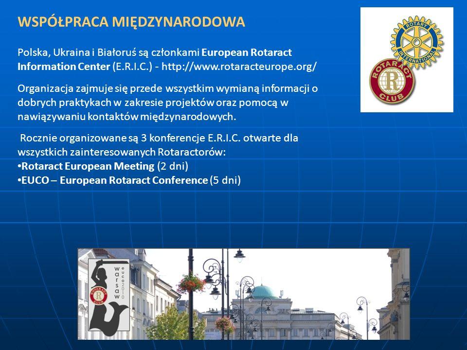 WSPÓŁPRACA MIĘDZYNARODOWA Polska, Ukraina i Białoruś są członkami European Rotaract Information Center (E.R.I.C.) - http://www.rotaracteurope.org/ Org