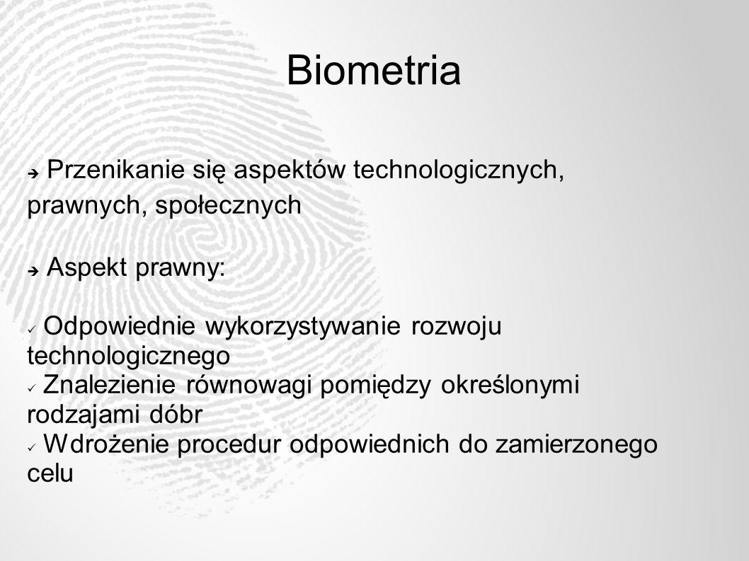 Biometria Przenikanie się aspektów technologicznych, prawnych, społecznych Aspekt prawny: Odpowiednie wykorzystywanie rozwoju technologicznego Znalezi