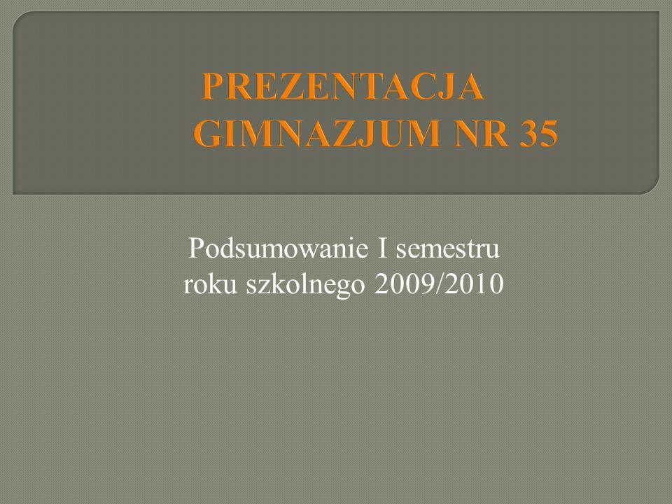 Podsumowanie I semestru roku szkolnego 2009/2010 PREZENTACJA GIMNAZJUM NR 35