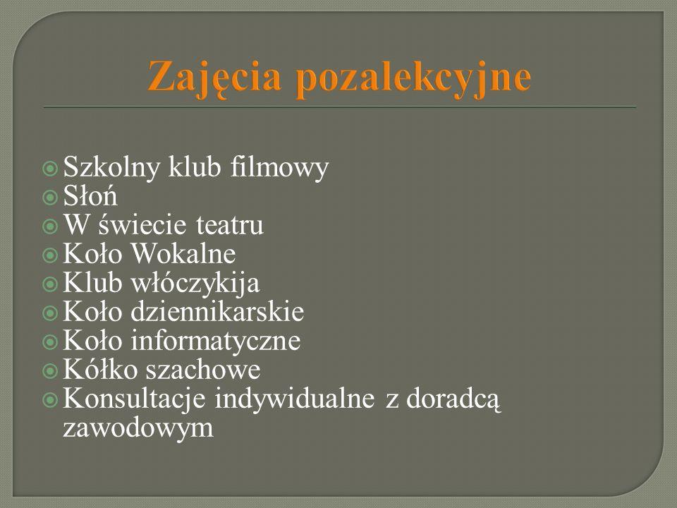 Zajęcia pozalekcyjne Szkolny klub filmowy Słoń W świecie teatru Koło Wokalne Klub włóczykija Koło dziennikarskie Koło informatyczne Kółko szachowe Kon