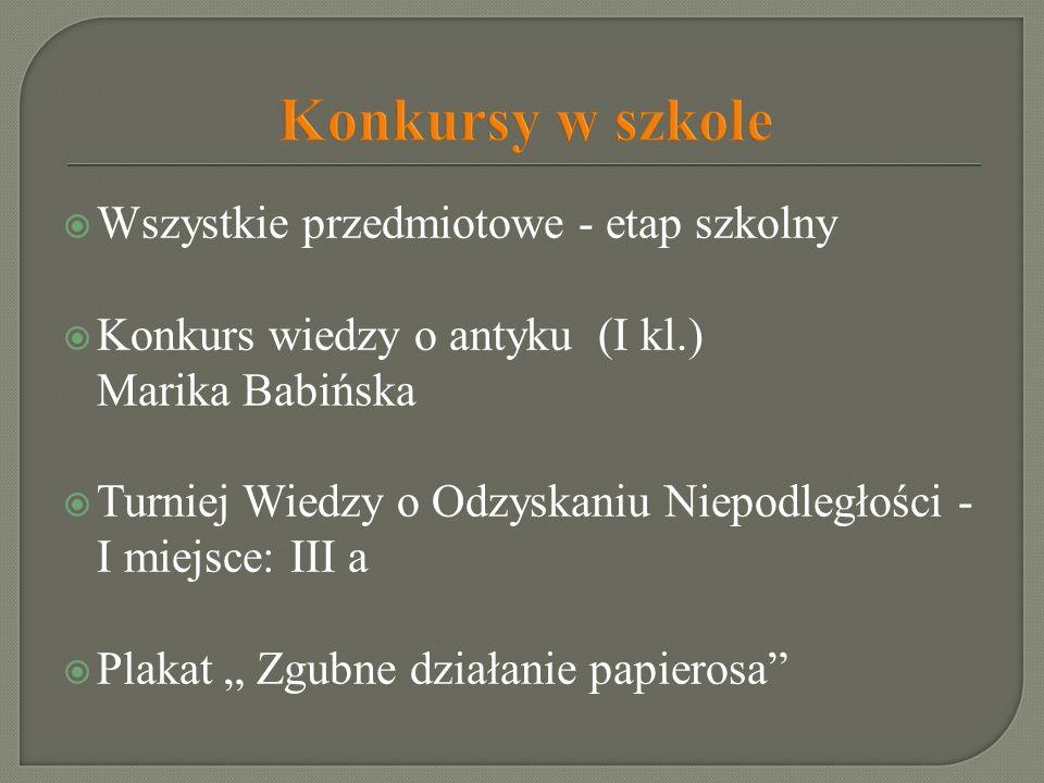 Wszystkie przedmiotowe - etap szkolny Konkurs wiedzy o antyku (I kl.) Marika Babińska Turniej Wiedzy o Odzyskaniu Niepodległości - I miejsce: III a Pl