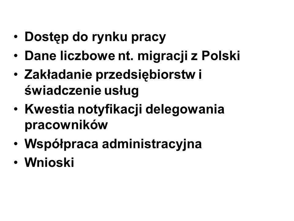 Dostęp do rynku pracy Dane liczbowe nt. migracji z Polski Zakładanie przedsiębiorstw i świadczenie usług Kwestia notyfikacji delegowania pracowników W