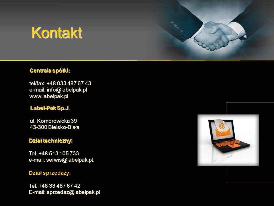 Kontakt Label-Pak Sp.J. ul. Komorowicka 39 43-300 Bielsko-Biała Centrala spółki: tel/fax: +48 033 487 67 43 e-mail: info@labelpak.pl www.labelpak.pl D