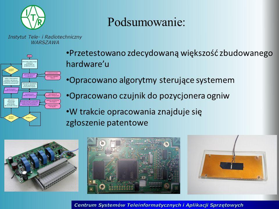 Instytut Tele- i Radiotechniczny WARSZAWA Podsumowanie: Przetestowano zdecydowaną większość zbudowanego hardwareu Opracowano algorytmy sterujące systemem Opracowano czujnik do pozycjonera ogniw W trakcie opracowania znajduje się zgłoszenie patentowe