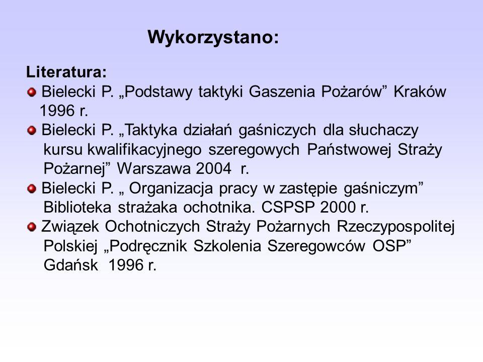 Wykorzystano: Literatura: Bielecki P. Podstawy taktyki Gaszenia Pożarów Kraków 1996 r. Bielecki P. Taktyka działań gaśniczych dla słuchaczy kursu kwal