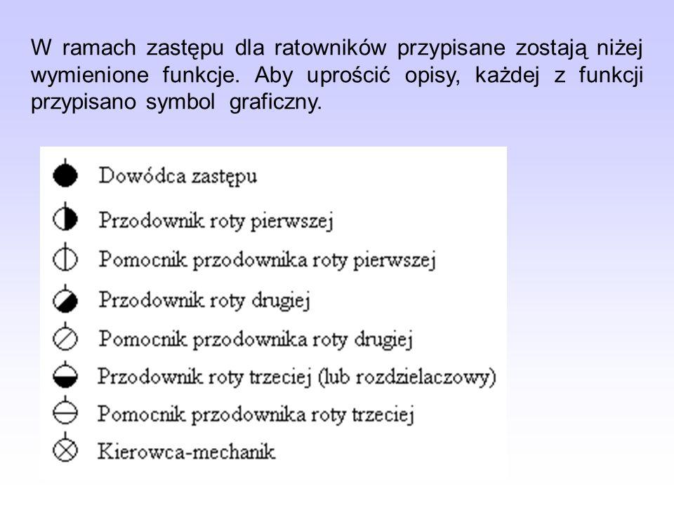 W ramach zastępu dla ratowników przypisane zostają niżej wymienione funkcje. Aby uprościć opisy, każdej z funkcji przypisano symbol graficzny.