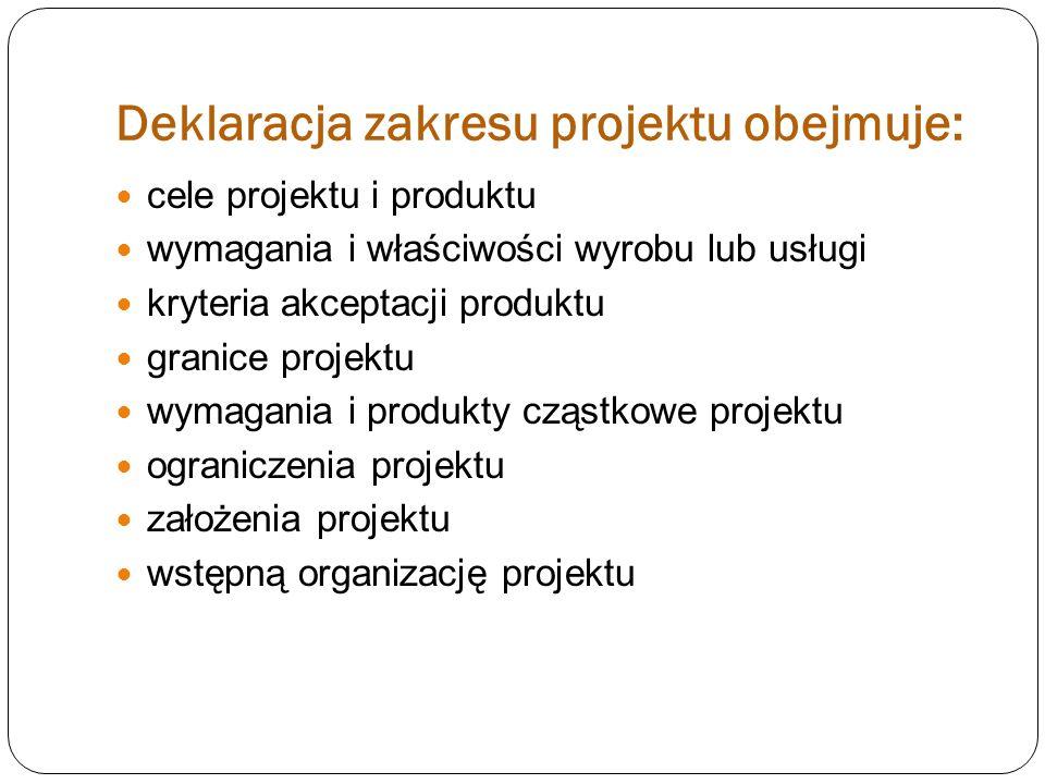 Deklaracja zakresu projektu obejmuje: cele projektu i produktu wymagania i właściwości wyrobu lub usługi kryteria akceptacji produktu granice projektu