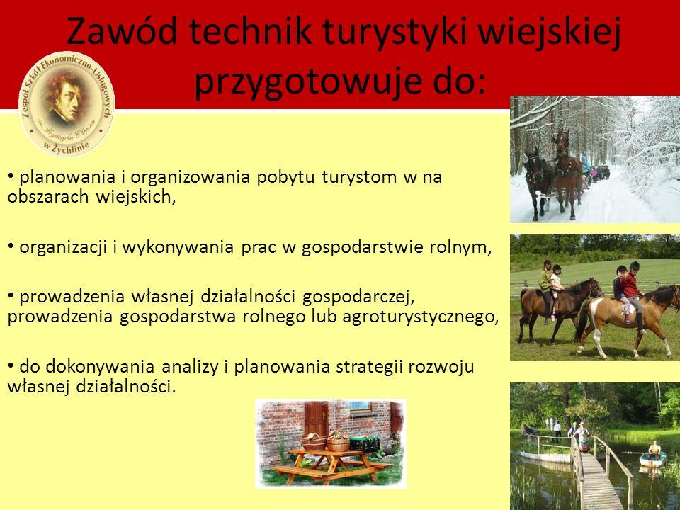 Przedmioty realizowane w zawodzie technik turystyki wiejskiej: podstawy turystyki wiejskiej, organizacja usług noclegowych, żywienie turystów, produkcja roślinna, produkcja zwierzęca, ekonomika i zarządzanie przedsiębiorstwem, język angielski zawodowy, zajęcia praktyczne (obsługa ruchu turystycznego, organizacja usług noclegowych, żywienie turystów, produkcja roślinna, produkcja zwierzęca).