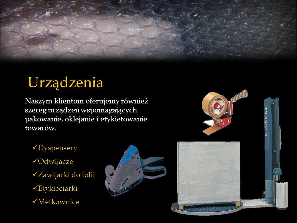 Urządzenia Dyspensery Odwijacze Zawijarki do folii Etykieciarki Metkownice Naszym klientom oferujemy również szereg urządzeń wspomagających pakowanie,