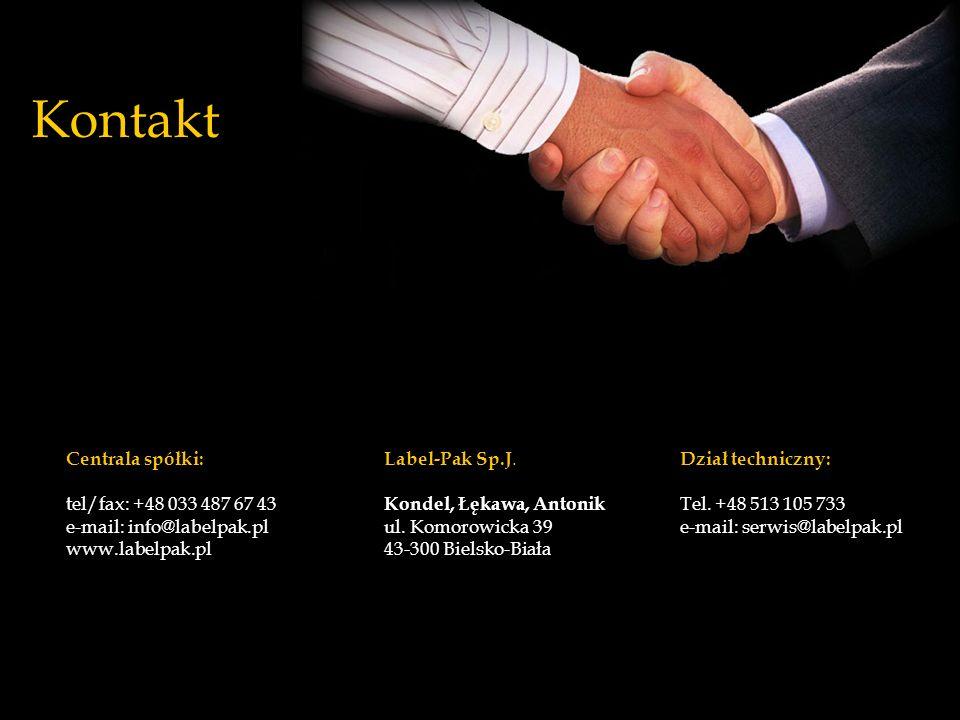 Kontakt Label-Pak Sp.J. Kondel, Łękawa, Antonik ul. Komorowicka 39 43-300 Bielsko-Biała Centrala spółki: tel/fax: +48 033 487 67 43 e-mail: info@label