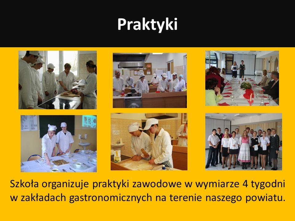 Praktyki Szkoła organizuje praktyki zawodowe w wymiarze 4 tygodni w zakładach gastronomicznych na terenie naszego powiatu.
