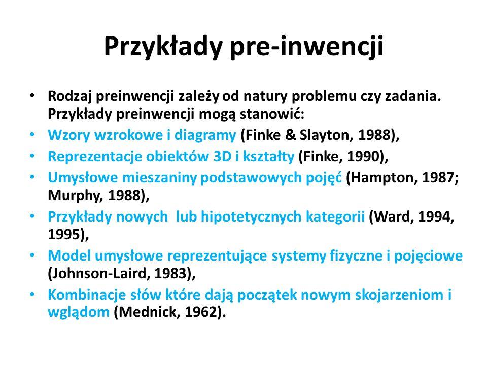 Przykłady pre-inwencji Rodzaj preinwencji zależy od natury problemu czy zadania. Przykłady preinwencji mogą stanowić: Wzory wzrokowe i diagramy (Finke