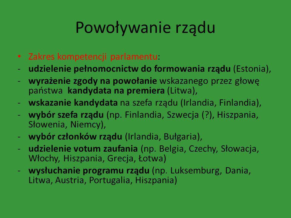 Powoływanie rządu Zakres kompetencji parlamentu: -udzielenie pełnomocnictw do formowania rządu (Estonia), -wyrażenie zgody na powołanie wskazanego prz