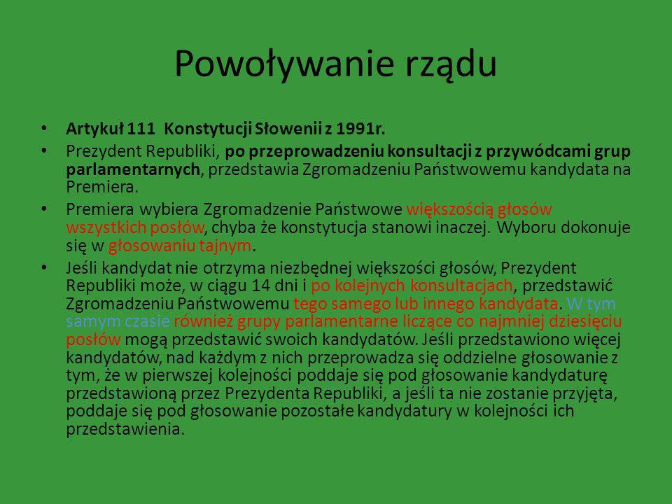 Powoływanie rządu Artykuł 111 Konstytucji Słowenii z 1991r. Prezydent Republiki, po przeprowadzeniu konsultacji z przywódcami grup parlamentarnych, pr